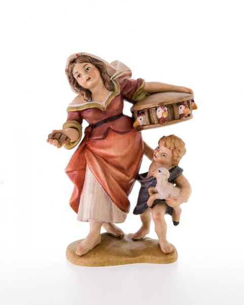 Frau mit Kind und Huehnerkaefig Nr. 66